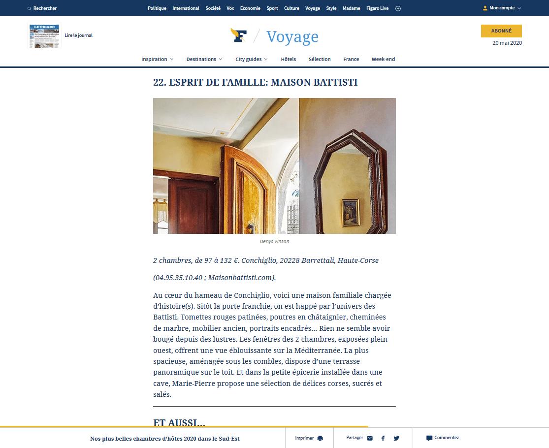 Figaro Voyages nos plus belles chambres d'hotes 2020 dans le sud est